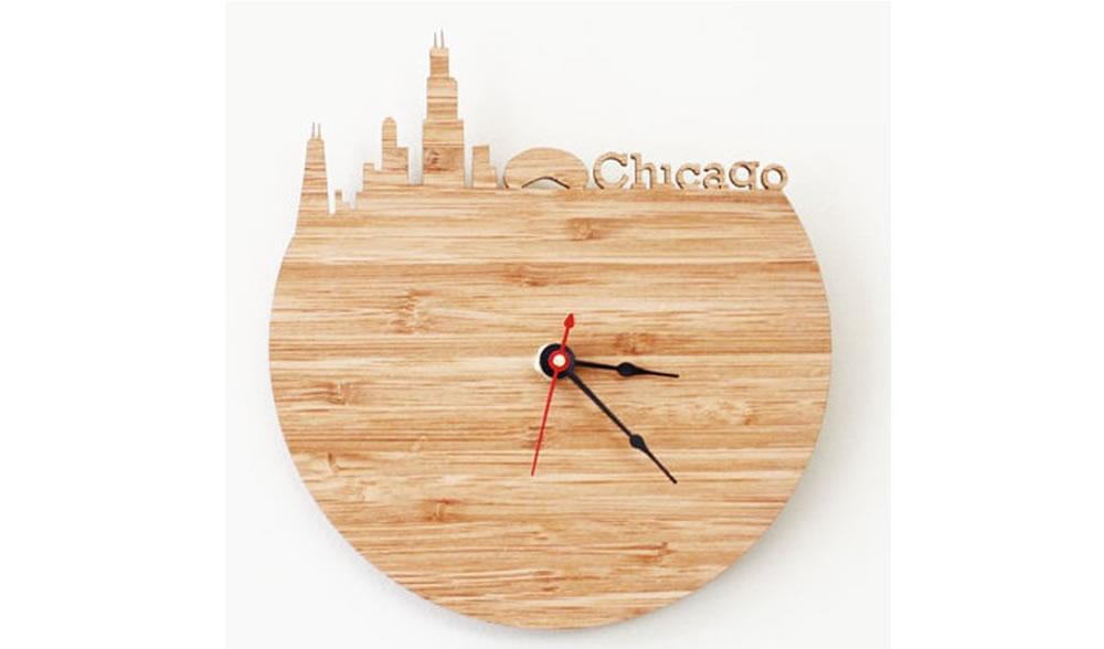 激光雕刻创意城市剪影时钟
